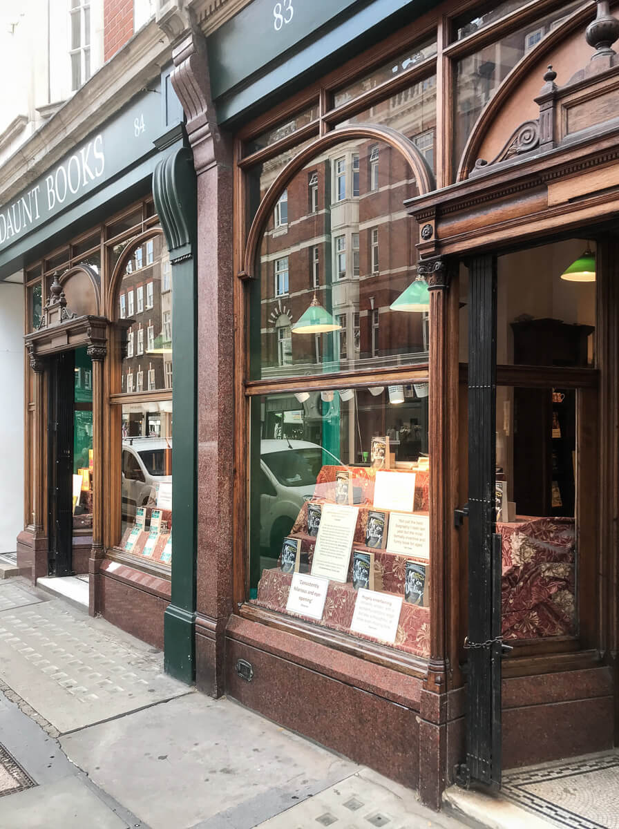Daunt Books shopfront, The Shopkeepers Going Places guide to Marylebone, London.