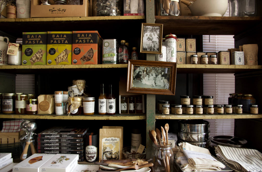 Shelves of goods at Boston General Store
