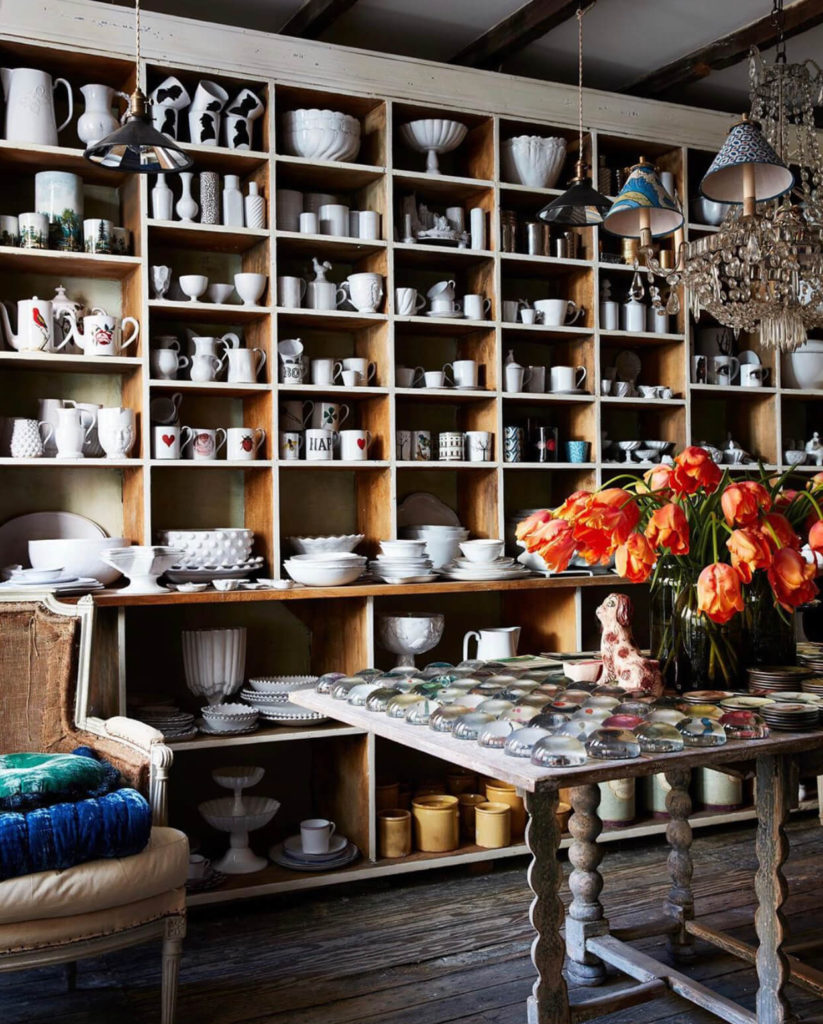 Stacked shelves at John Derian Company, Best Home and Interior Shops, New York
