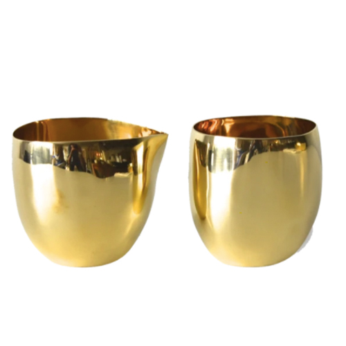 Shop the Hamptons French Presse brass cream and sugar set