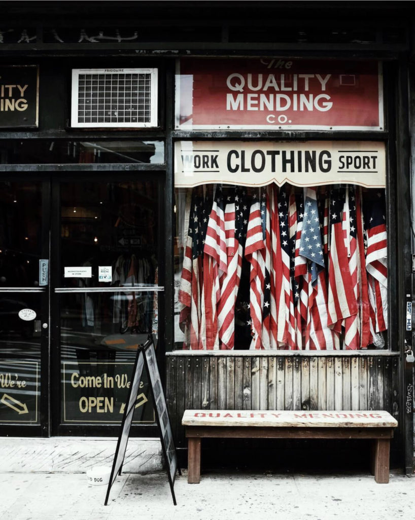american flags at quality mending co