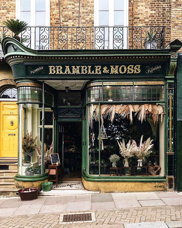bramble and moss shopfront facades with or without people