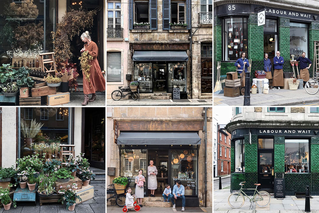 shopfront facades with or without people