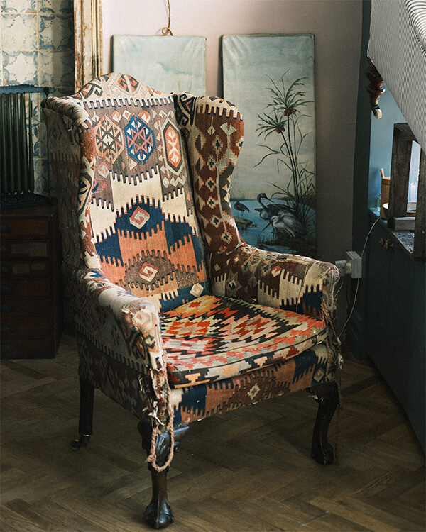 killim covered wing chair Joy Thorpe decorative antiques and interiors