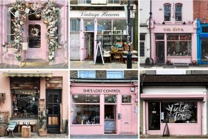 pink storefronts